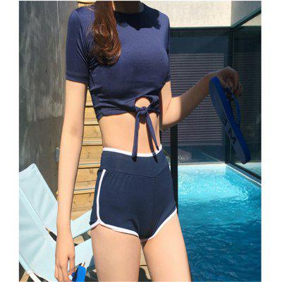 2020 South Korea New Gathered Lace-up Split Boxer Short-Sleeved Swimsuit Conservative Belly Hot Spring Student Swimsuit Women
