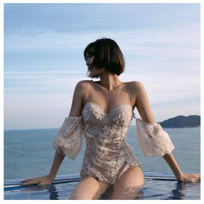 New Swimsuit Belly Slimming Female Sexy Fairy Fan Ins Wind Net Red Lace One-Piece Small Chest Gathered Swimsuit