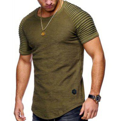 Mens Round Neck Fit Solid Short Sleeve T shirt Stripe Pleated Sleeve Mens Short T