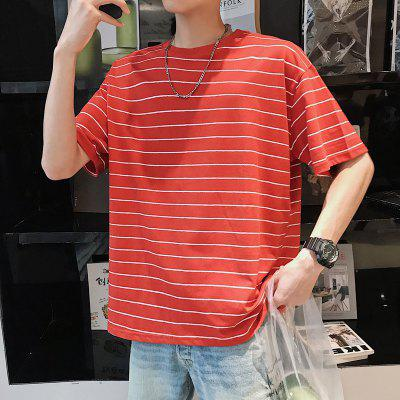 Stripe Short Sleeve T Shirt Mens Loose Half Sleeve BF Pullover Fashion Bottom Coat