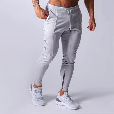 Sports Pants Mens Running Cotton Slim Leggings With Lace Up Hem Zipper Casual Pants