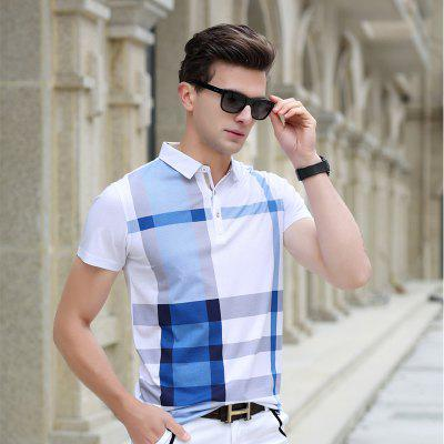 2020 Shirt Polo Mens Brand Cotton Short Sleeve Business Daily Lattice Design Mens Breathing Big Shirt