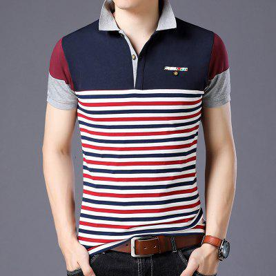 Large Mens New Summer Short Sleeve T Shirt With Trendy Stripe Polo Thin