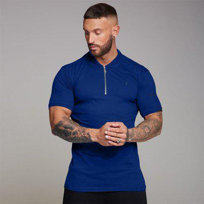 New Fitness Mens Outdoor Sports Fitness Top Training Polo Zip Shirt