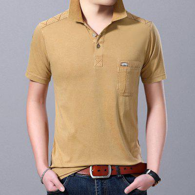 Summer Short Sleeve Mens T Shirt  Slim solid Lapel Cotton Casual Versatile Mens Polo