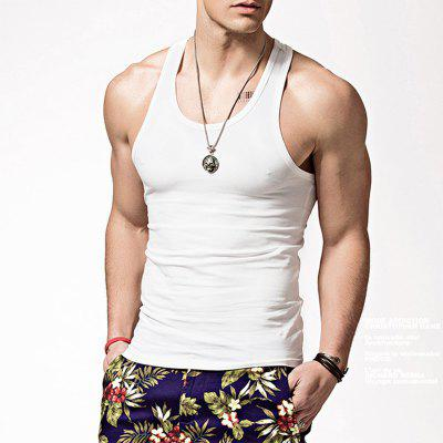 Mens Tank Top Elastic Tight Modal Solid Color Sports Tank Top Mens Summer Slim Fit Bottom