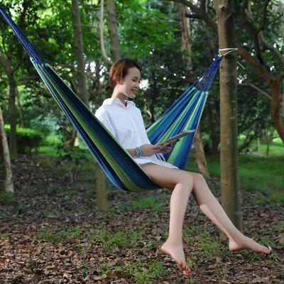 Portable Hammock Outdoor Hammock Garden Sports Home Travel Camping Swing Canvas Stripe Hang Bed Hammock Red Blue