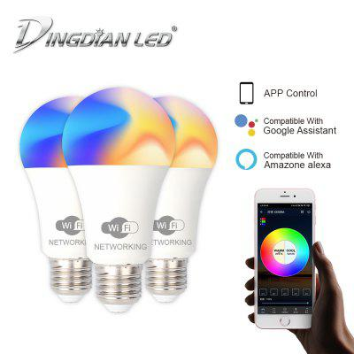 DingDian LED 3 Packs E27 LED WIFI Smart Light Bulb 85-265V 9W