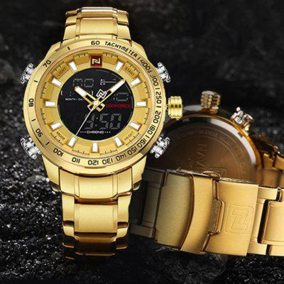 NAVIFORCE 9093 Sports Men Watch Wasserdichte Hintergrundbeleuchtung - Golden