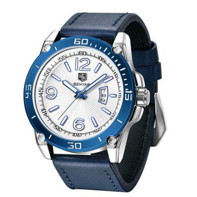 Echtes Lederarmband Business Men Quartz Watch Wasserdichter Kalender Männliche Armbanduhr
