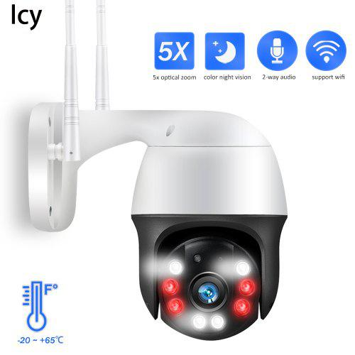 Icy 1080P PTZ IP Camera 5X Zoom Auto Metal Outdoor Wireless Wifi Security Camera 2MP HD Network Onvif Cam