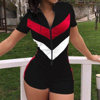 New Women Sexy V-neck Short Sleeve Solid color Patchwork Bodycon Club Casual Blazer Jumpsuits