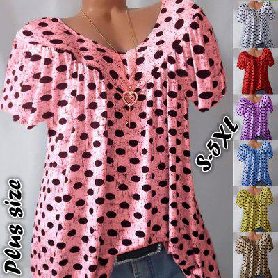 Womens Polka Dot Short Sleeve T Shirt Summer Casual Loose Blouse Tops Plus Size