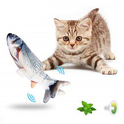 Azewe Realistic Plush Simulation Electric Doll Fish Funny Interactive Pets Chew Bite Supplies for Cat Kitty Kitten Fish Flop Cat Toy