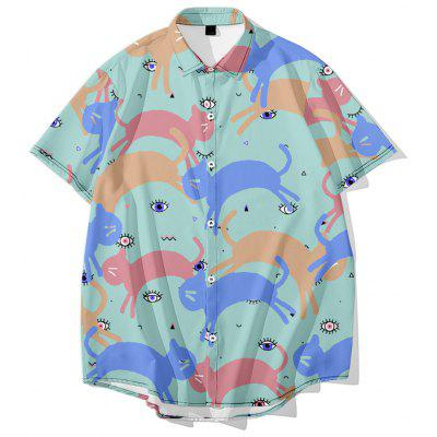 Higher Brothers Fun Star & Cat Printed Casual Shirt