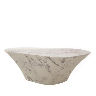 Marble Look Oval Coffee Table White/Black Modern  Artificial Finishing Living Room