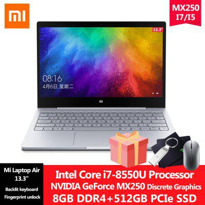 Xiaomi Laptop Air 13.3 inch MX250 Intel Core i7-8550U/i5-8250U 8G DDR4 512G SSD Windows 10 Laptop with Fingerprint Unlock Ultra-thin Office Notebook Image