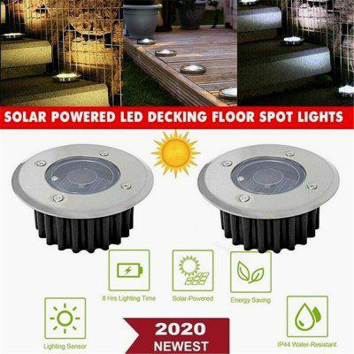 Hot Newest Fashion Solar Powered LED Decking Floor Spot Lights White Stainless Steel Lamp Garden