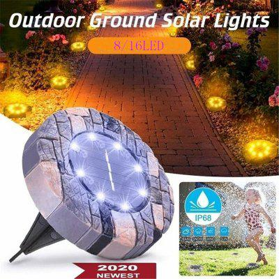 NEW 16 Led 1pcs Solar Powered Lights Outdoor Ground Lights IP68 Waterproof Solar Garden Lights Solar Disk Lights Solar Landscape Lights