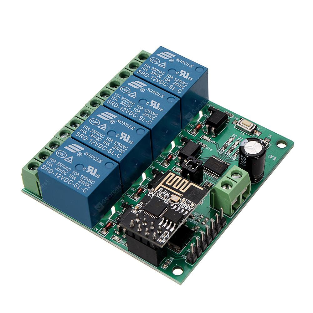 DC12V ESP8266 Four Channel Wifi Relay IOT Smart Home Phone APP Remote Control Switch