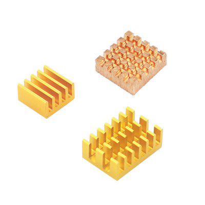 1x Copper  2x Aluminum Gold Radiator with Back Glue for Raspberry Pi Case