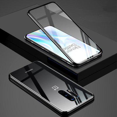 For OnePlus 8 / Pro Nord Cases Flip Metal Magnetic Front Back Clear Tempered Glass Cover Phone Casing Shockproof