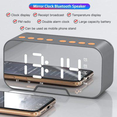 Bluetooth Speaker with FM Radio LED Mirror Alarm Clock Subwoofer Music Player Snooze Desktop Wireless
