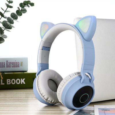 Wireless Bluetooth Headset LED Light Cat Ear Wireless Headset Bluetooth 5.0 Headset Game Headphones Foldable with Microphone for Mobile PC