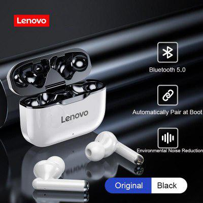 TWS Earphones Lenovo LP1 Bluetooth 5.0 Earbuds Wireless Charging Box 9D Stereo Sports Waterproof Headsets With Microphone Mic bluetooth 5 0 headset tws wireless earphones mini earbuds stereo earphones ipx7 dual microphone and charging box