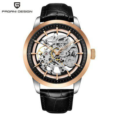 PAGANI DESIGN Brand 1638 Fashion Leather Watch Men Automatic Mechanical Skeleton Waterproof Watches