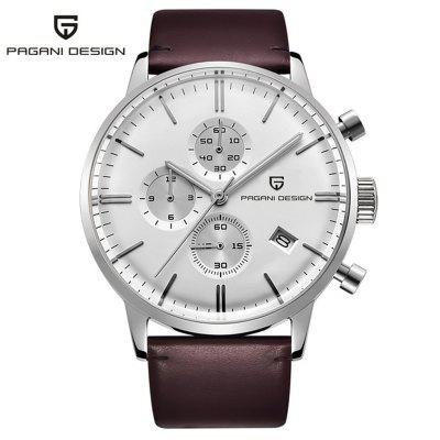 PAGANI DESIGN 2720K Men Watches Luxury Waterproof 30M Sport Leather Chronograph Quartz Watch