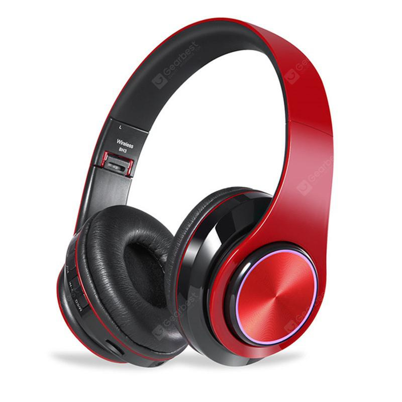 Jeaper BH3 Wireless Headphones Bluetooth Headphone 7 Colors Cool Led light 3D HD stereoHeadset With MIC Support SD Card For PhoneTV PC MP3