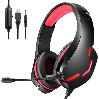 J10 Gaming Headset  with Noise Canceling Headphones Stereo Sound Bass Surround Soft Memory Earmuffs