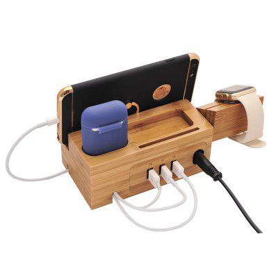 YMCS3U3A Natural Wood Charger Holder Stand for iPhone XR XS Dock Apple watch Charging Station Airpods Pro
