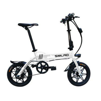 SMLRO EF14 Mini Electric Bicycle 250W Double Disc Brake Aluminum Alloy Smart Foldable Electric Bike 8.8AH Battery LED front E-Bike Image