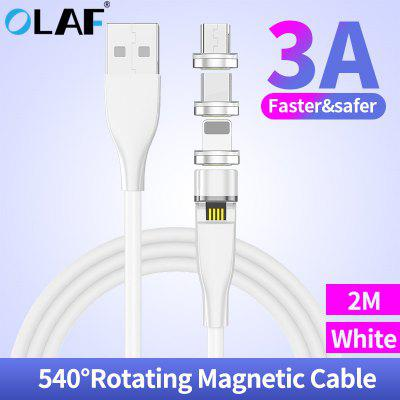 Olaf 3A 540 Rotate Magnetic Fast Charging Micro USB Type C Cable Magnet Charger For iPhone Samsung Xiaomi Intelligent Current Control Data Transfer