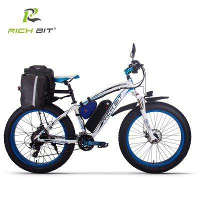 RICH BIT 1000W 4.0 Fat Tire Electric Bicycle 26inch 48V Mountain Snow EBike Shimano 7-Speed Gear Shifts E-PAS Recharge System Image