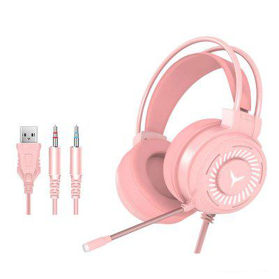 H&A Game Player Headset Surround Stereo 3.5m and USB Interface Microphone Colorful Lighting PC Laptop Gaming