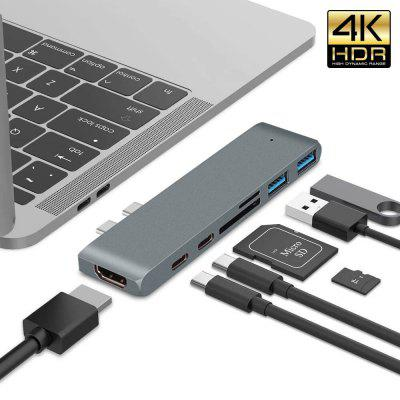 Hannord 7 in 1 USB C Hub Dual Type To 4K 30HZ Thunderbolt 3 HDMI 2USB 3.0 SD TF For Macbook Pro Adapter