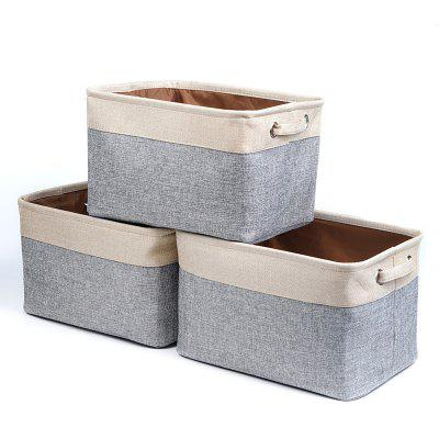 Storage Basket Bin Set 3 Pack Foldable Cube Box Collapsible Fabric Organizer With Handles For Home Office Closet Toys Clothes Room Nursery Car
