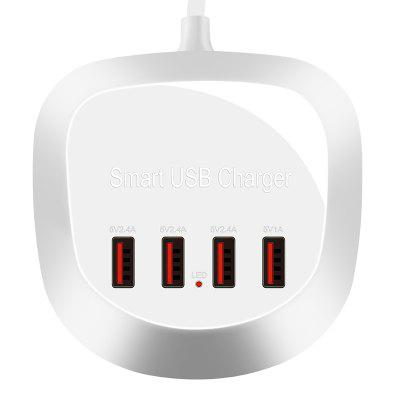 4-Port 5V 2.4A USB Compact Charger Adapter Fast Phone Charger Station