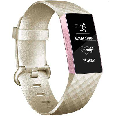 Checkered Texture Metallic Color Watch Band For Fitbit Charge 3 Sport Buckle Silicone Wrist Strap
