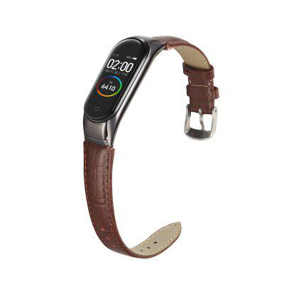 Leather Wristband Is Suitable For Mi Band 5 Strap Smart Bracelet Wristband