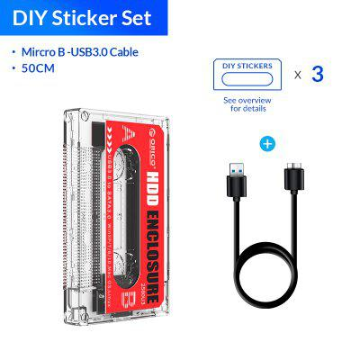 ORICO Hard Drive Case USB3.0 HDD Enclosure External Transparent DIY Stickers for 2.5Inch SSD Cassette Tape Design