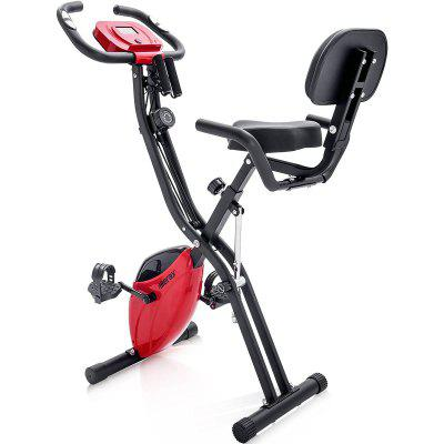 Merax Indoor Cycling Bike Exercise Bike with Flywheel magnetic foldable fitness bike with training computer and expander bands Image