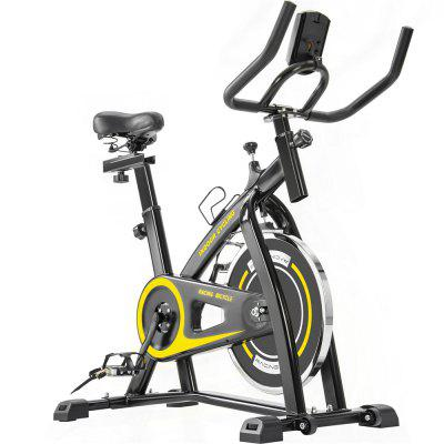 Indoor Cycling Bike Trainer with Comfortable Seat Cushion Belt Drive System and LCD Monitor for Home Workout Image