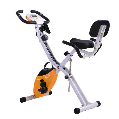 BTM Folding Cycling Exercise Bike Indoor Training X Bike for Home Cardio Workout with Flywheel and Arm Resistance Bands Image