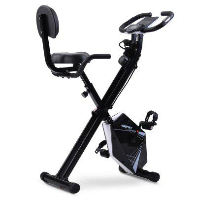 Merax Foldable Exercise Bike with LCD Screen Adjustable Height and Arm Resistance Bands for Indoor Training Image