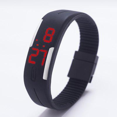 LED Unisex Watch Date Red Digital Rectangle Dial Rubber Band Multicolor