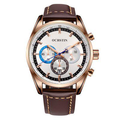 OCHSTIN Creative Quartz Man Watch Leather Waterproof Multifunctional Men